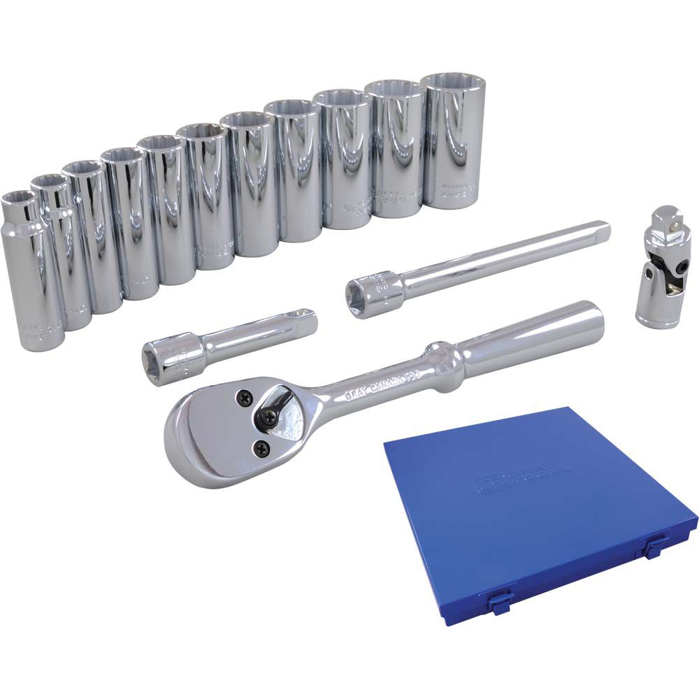 Socket & Attachments Set 15 Pieces 3/8 Inch Drive 12 Point Deep Sae