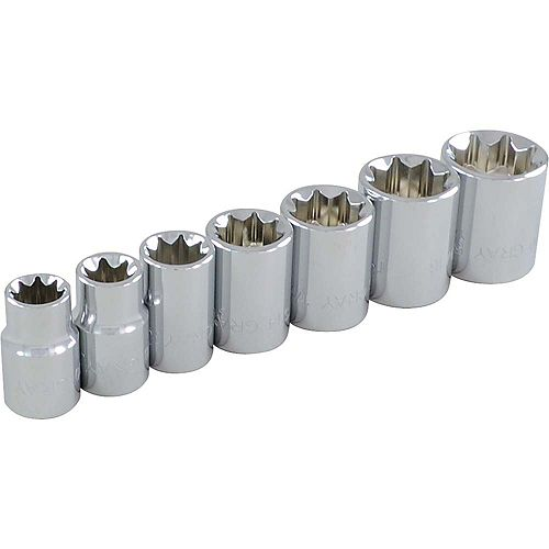 GRAY TOOLS 7-Piece Socket Set 3/8 Inch Drive 8 Point Standard Sae