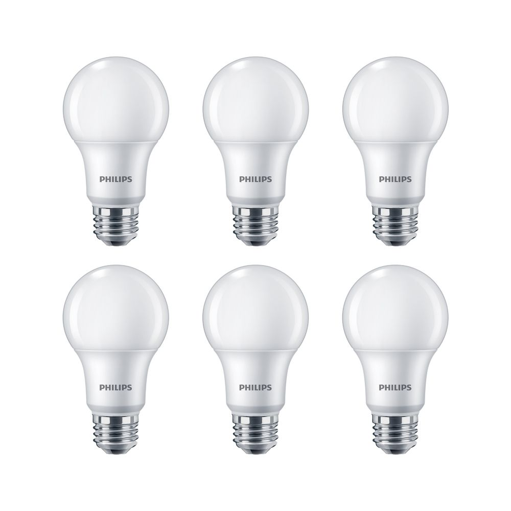Philips LED 60W A19 Soft White 2700K - 6 Pack - ENERGY STAR®