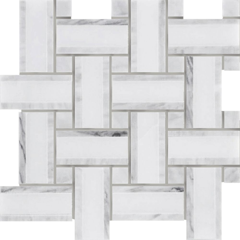 Tweed Linea Carrara Marble with Grey Polished Mosaic - Pack of 5
