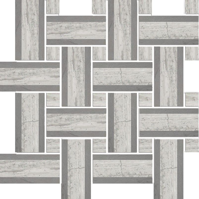 Tweed Linea Wooden White with Grey Marble Polished Mosaic - Pack of 5
