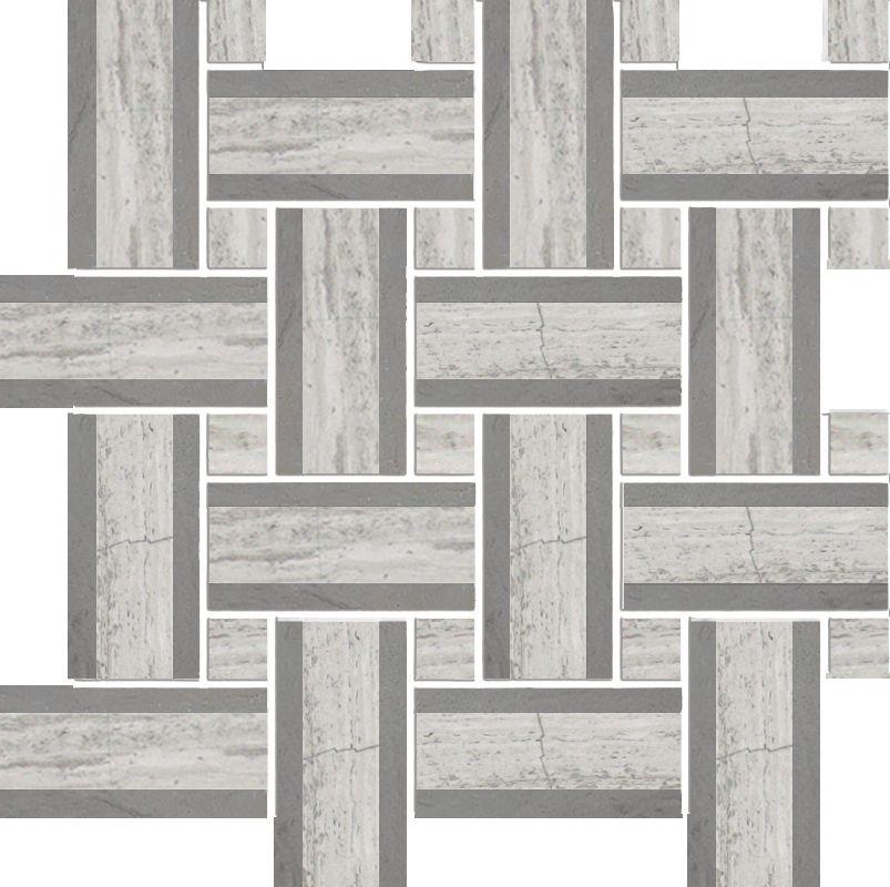 Tweed Linea Blanc en Bois avec Marbre Gris Poli Mosaïque - Emballage de 5