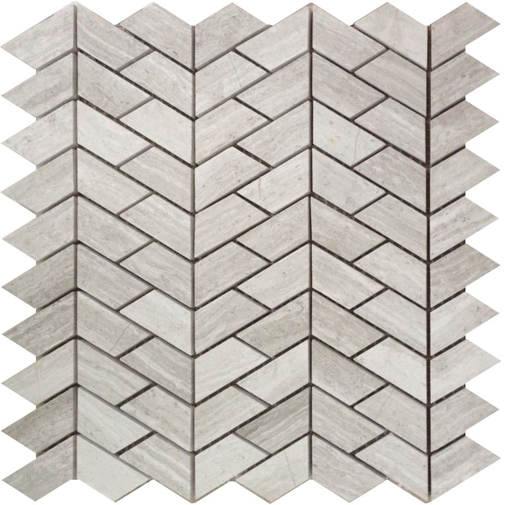 Verti Wooden White Polished Mosaic Tile (5 Pack)