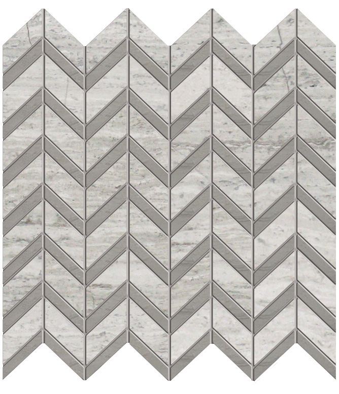 Chevron Wooden White with Grey Marble Polished Mosaic - Pack of 5