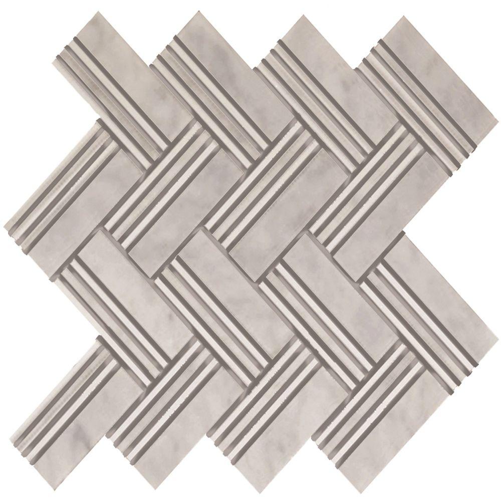 Herringbone Linea Carrara Marble Polished Mosaic Tile (5 Pack)