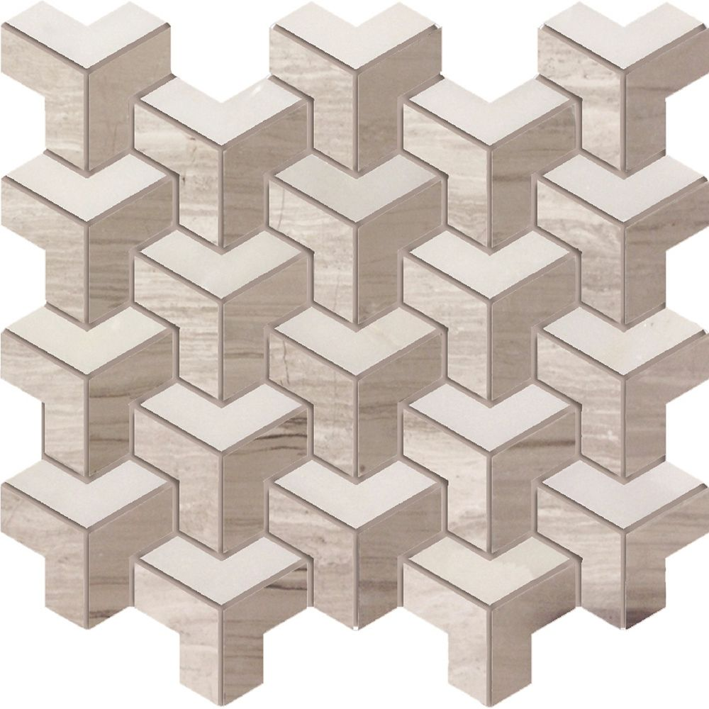 Geo Illusion 3 Colour Mix Polished Mosaic Tile (5 Pack)
