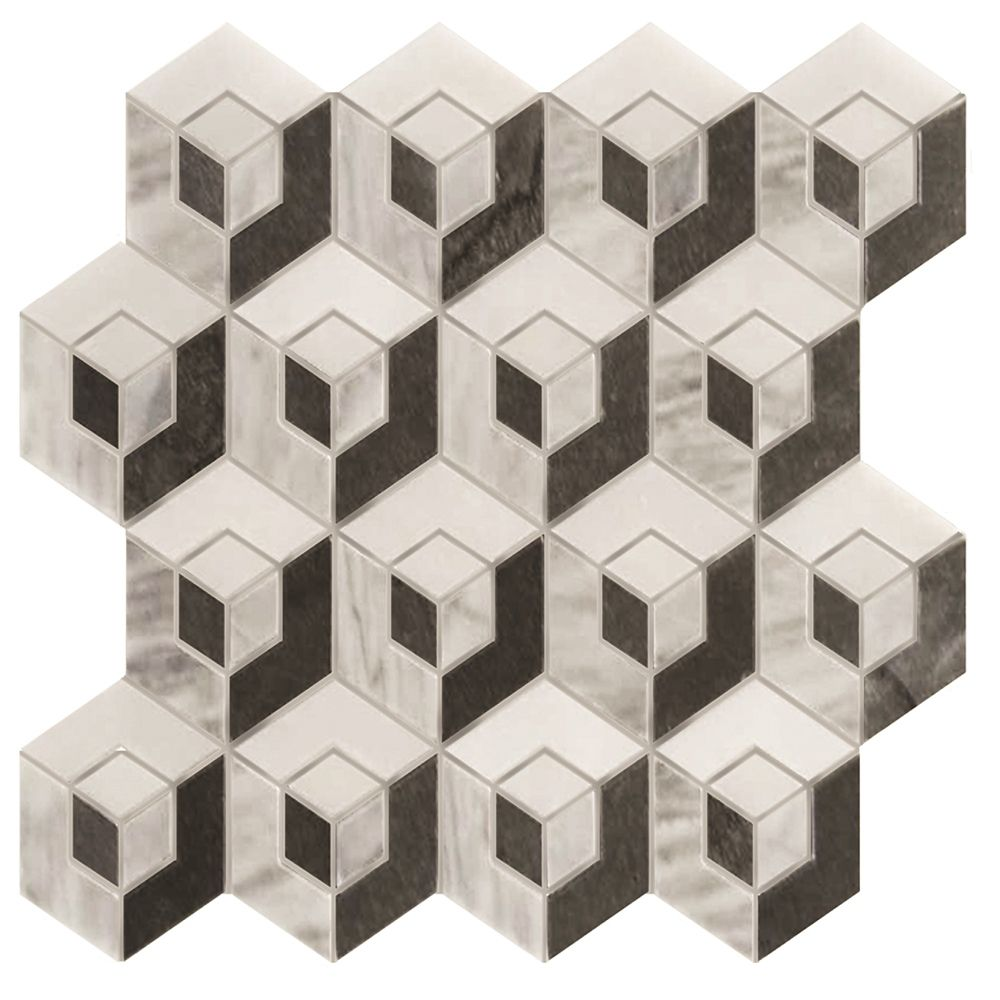 Cubic Illusion 3 Colour Mix Polished Mosaic Tile (5 Pack)