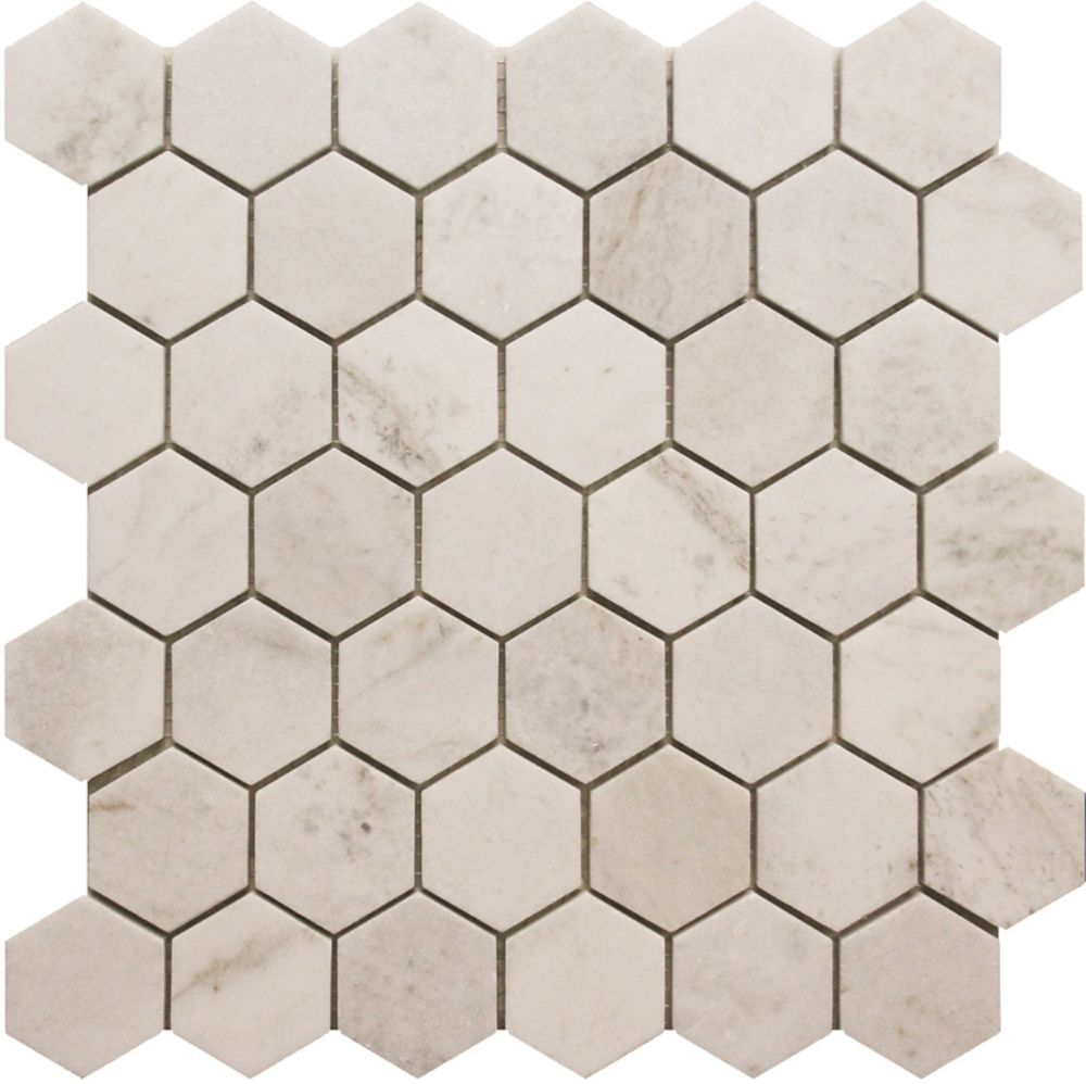 2-Inch x 2-Inch Hexagon White Marble Polished Mosaic Tile (5 Pack)
