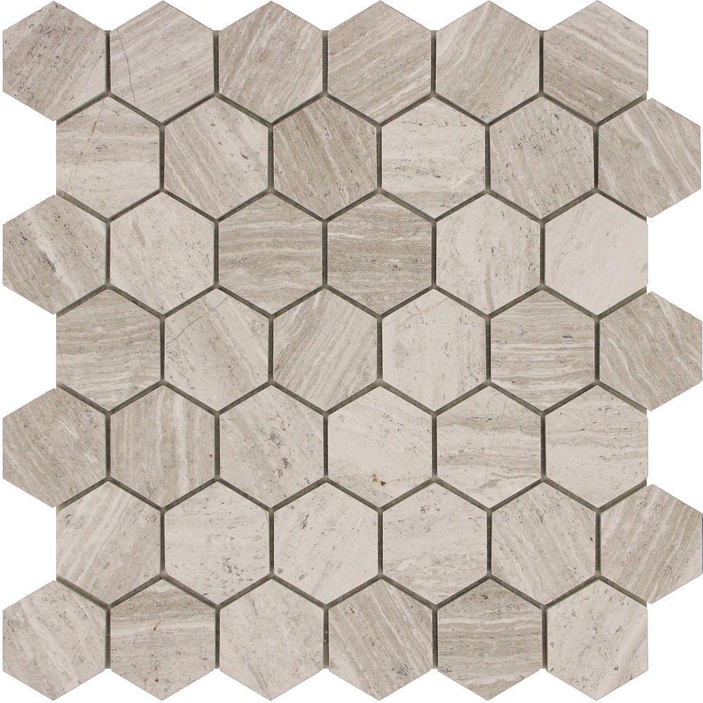 2x2 Hexagone Blanc en Bois Marbre Poli Mosaïque - Emballage de 5