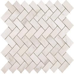 Modamo Herringbone Carrara Marbre Poli Mosaïque - Emballage de 5