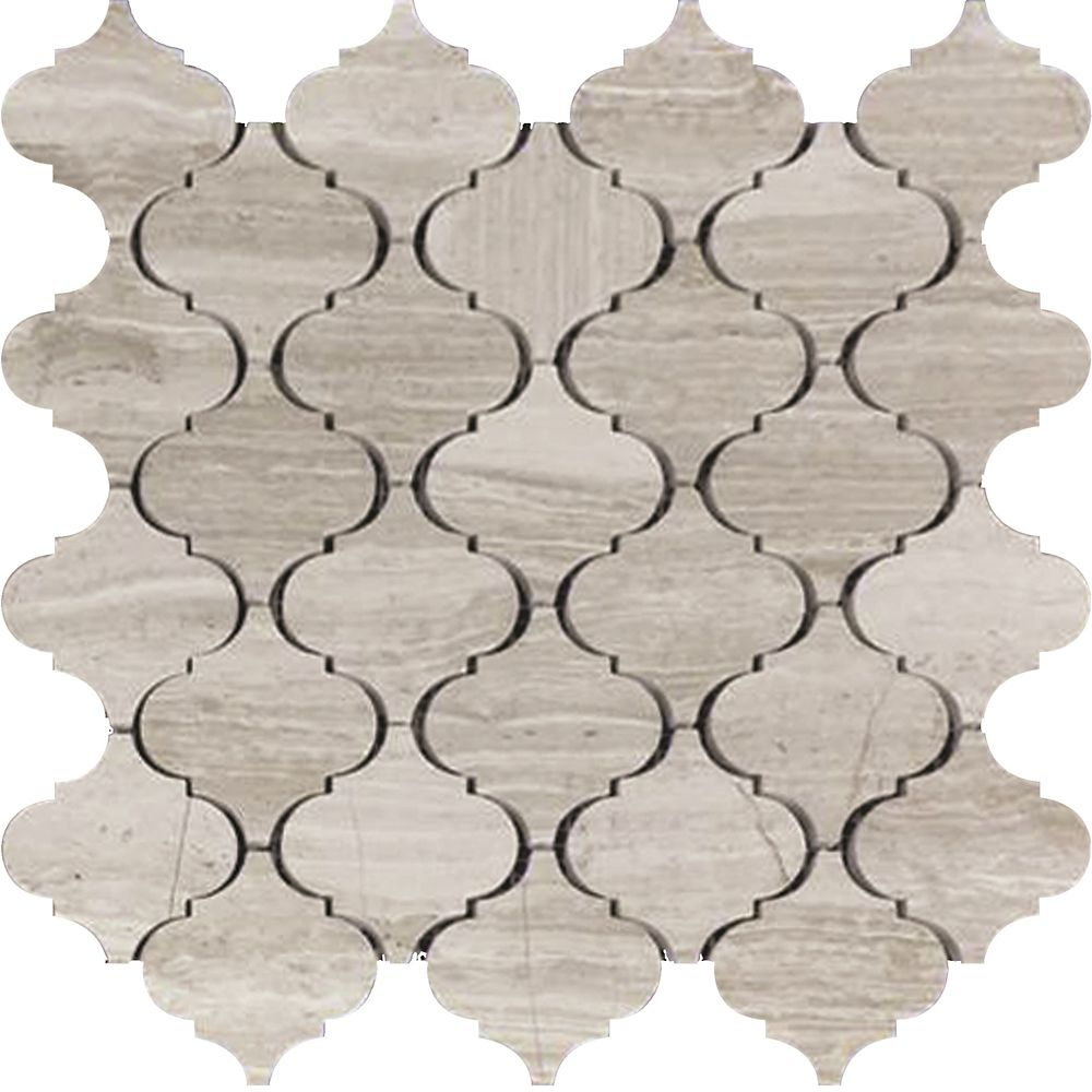 Arabesque Wooden White Marble Polished Mosaic Tile (5 Pack)