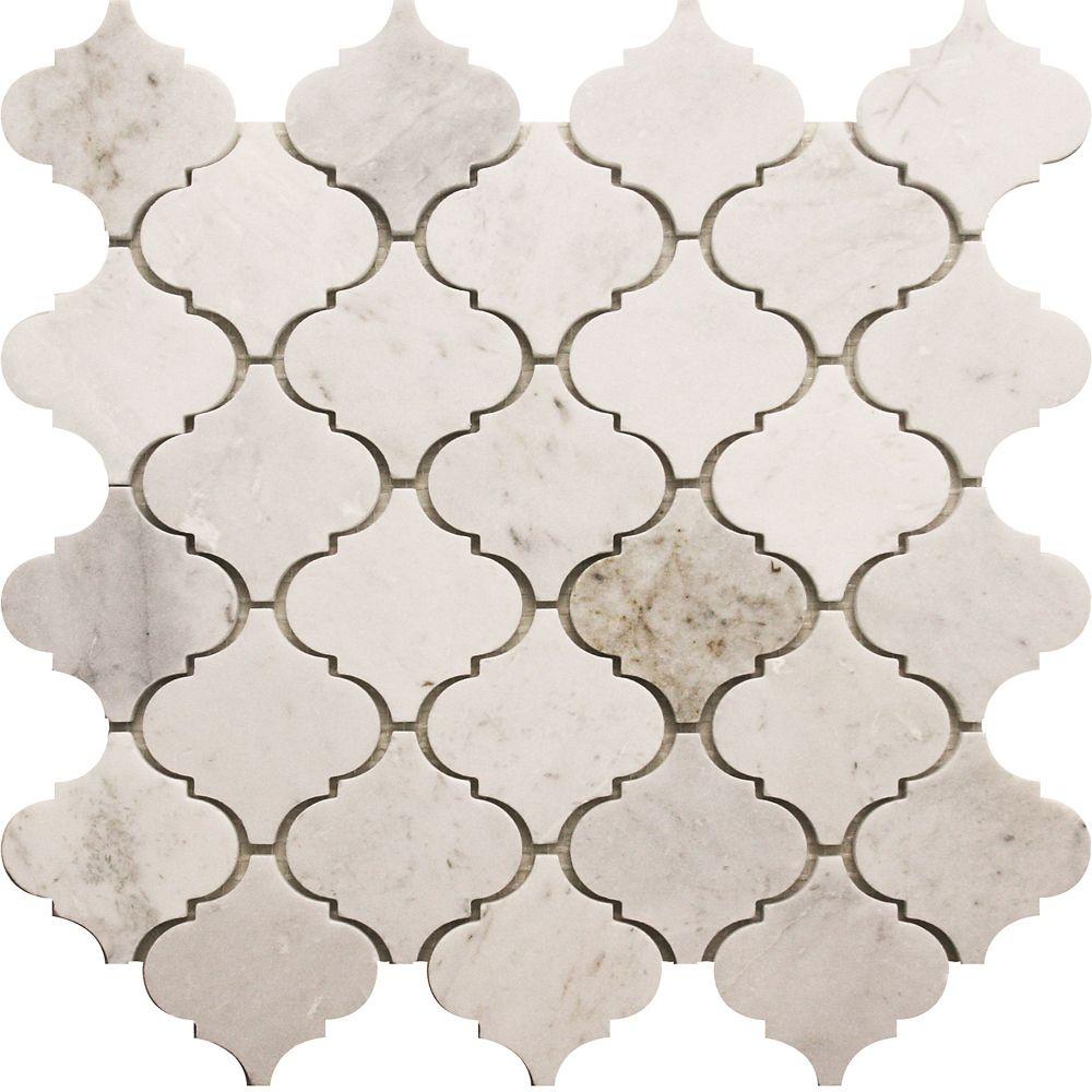 Arabesque White Marble Polished Mosaic Tile (5 Pack)