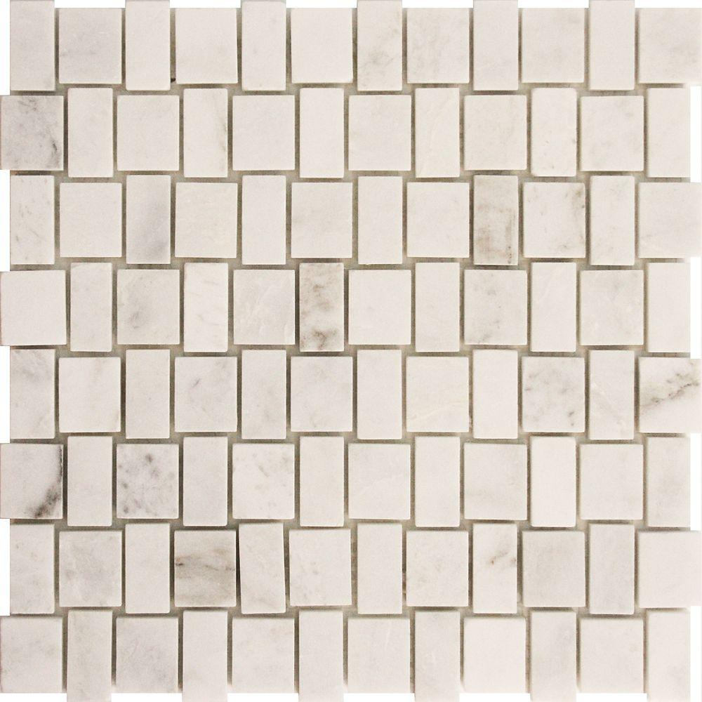 Squareweave White Marble Polished Mosaic Tile (5 Pack)