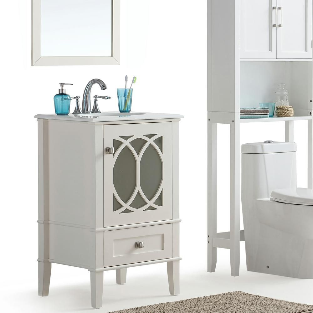 Paige 21-inch W Vanity in Soft White with Quartz Marble Top in White