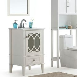 Simpli Home Paige 21-inch W 1-Drawer 1-Door Freestanding Vanity in White With Quartz Top in White