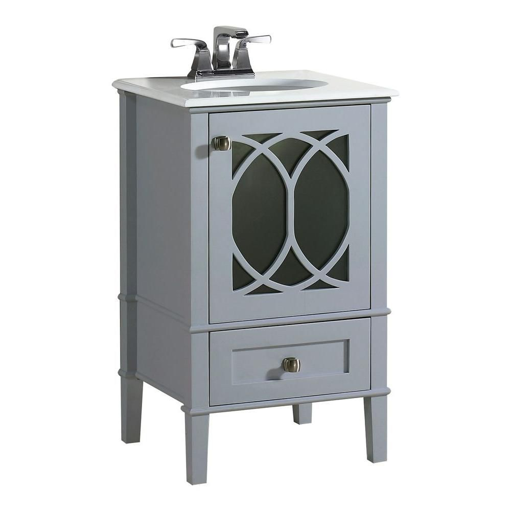 Paige 20-inch W Vanity in Grey with Quartz Marble Top in White
