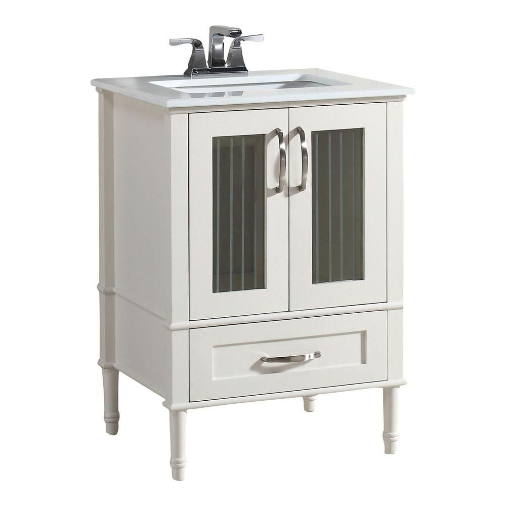 Kendra 25-inch W Vanity in Soft White with Quartz Marble Top in White
