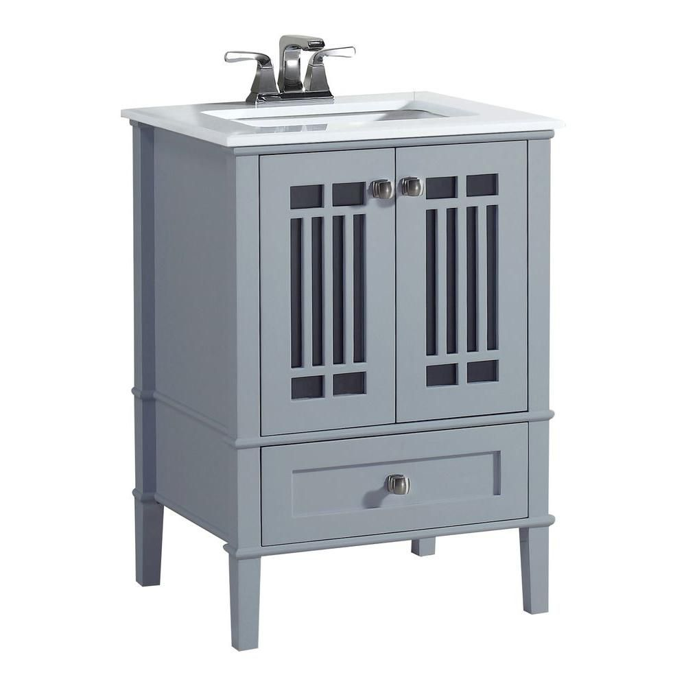 Redford 25-inch W Vanity in Grey with Quartz Marble Top in White