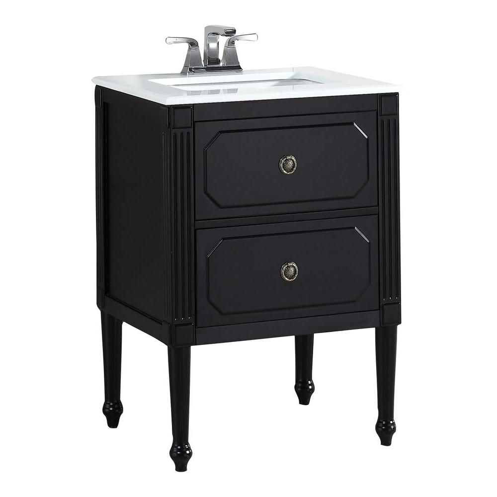 Versaille 24-inch W Vanity in Black Finish with Quartz Marble Top in White