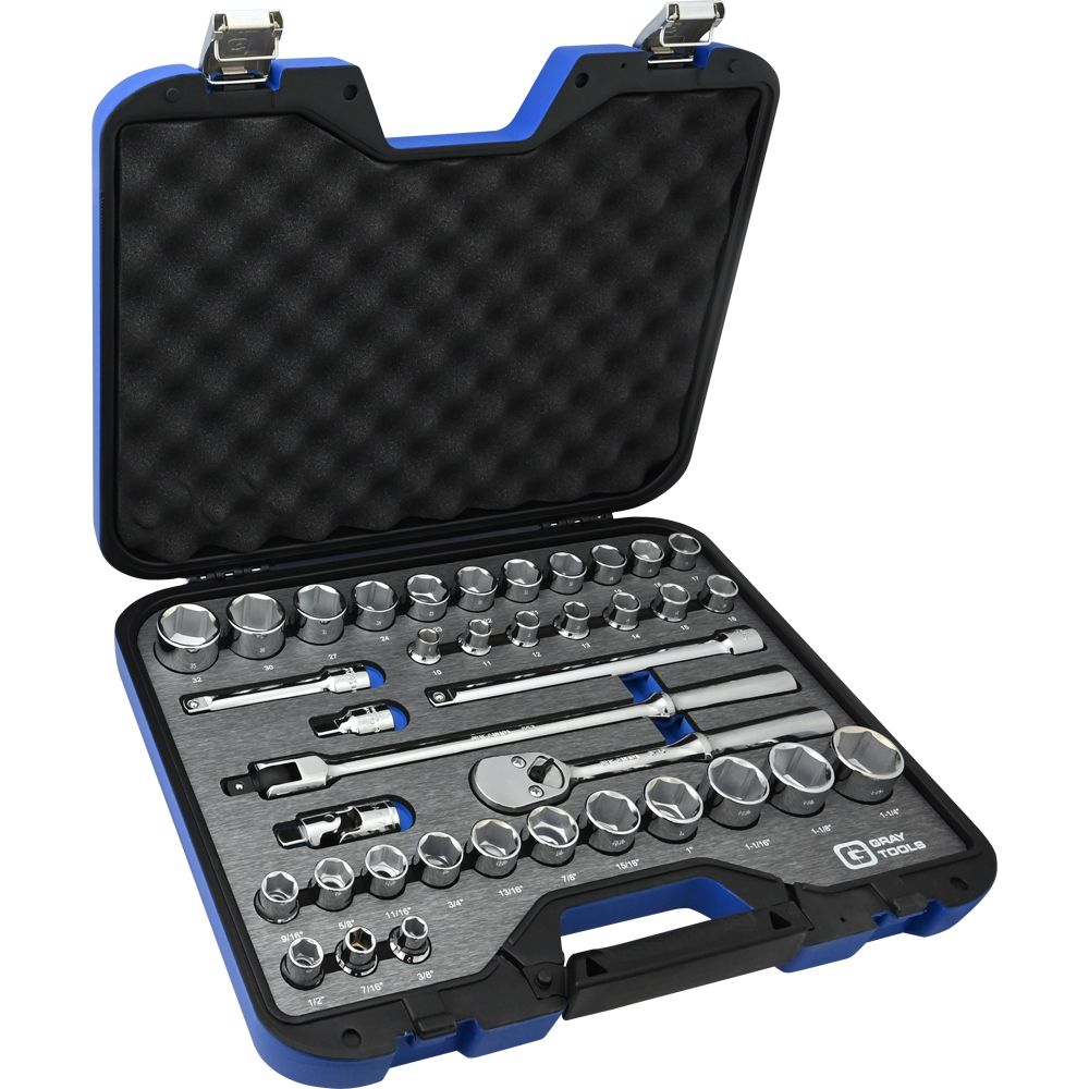 Socket & Attachments Set 38 Pieces 1/2 Inch Drive 6 Point Sae And Metric