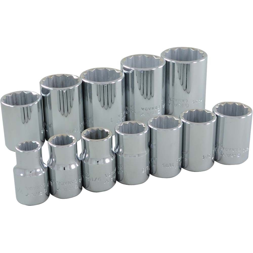 GRAY TOOLS Socket Set 12 Pieces 1/2 Inch Drive 12 Point Standard Sae