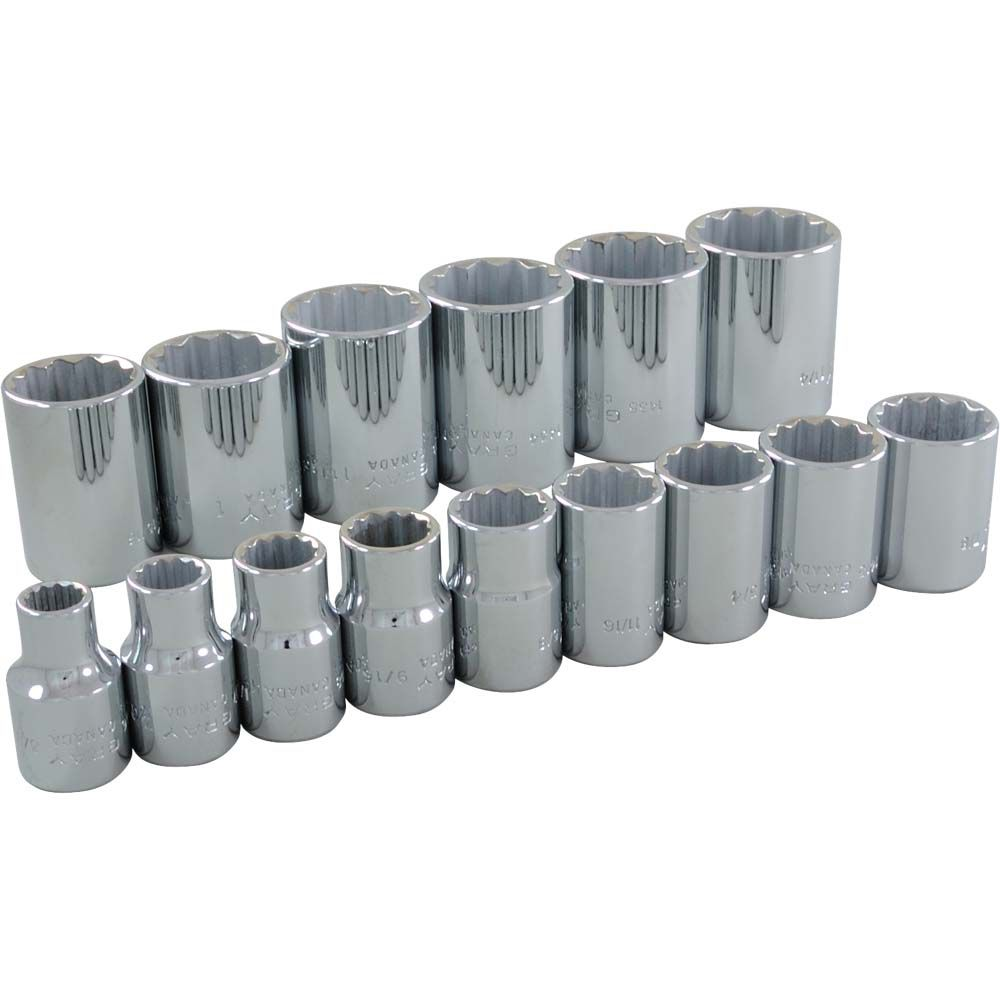 Socket Set 15 Pieces 1/2 Inch Drive 12 Point Standard Sae