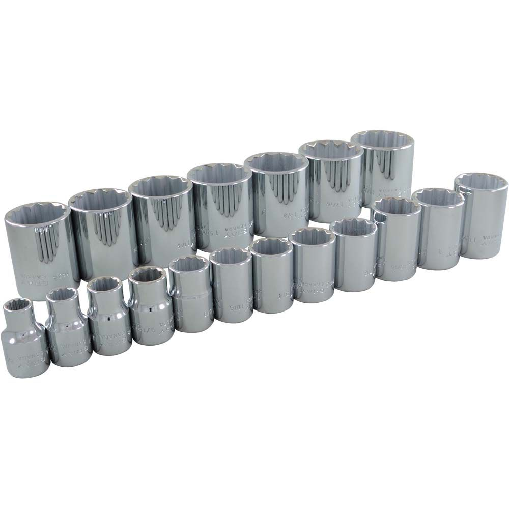 Socket Set 19 Pieces 1/2 Inch Drive 12 Point Standard Sae