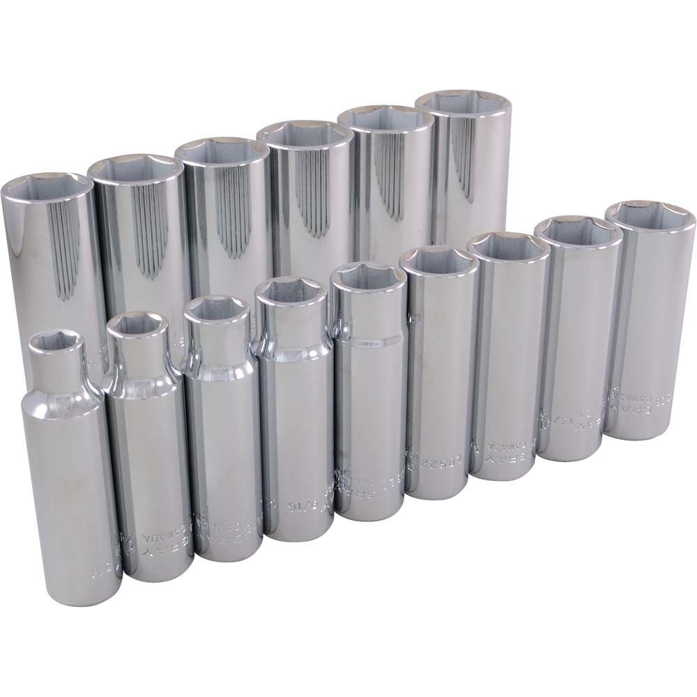 GRAY TOOLS Socket Set 15 Pieces 1/2 Inch Drive 6 Point Deep Sae