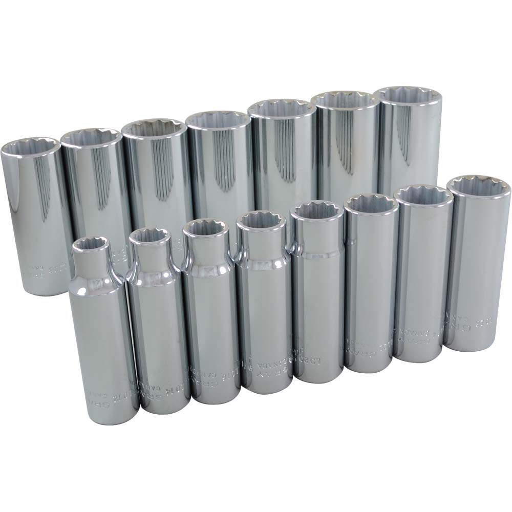 Socket Set 15 Pieces 1/2 Inch Drive 12 Point Deep Sae