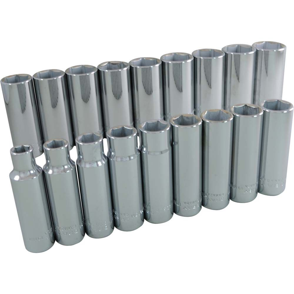 GRAY TOOLS Socket Set 18 Pieces 1/2 Inch Drive 6 Point Deep Metric
