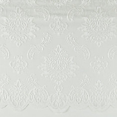 White, boucle medallion lace valance with scalloped hem, Sheer, Rod pocket, 50 Inch  x 16 Inch