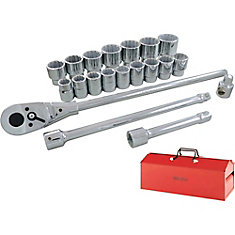 Socket & Attachments Set 22-Piece 3/4 Inch Drive 12 Point Standard Sae