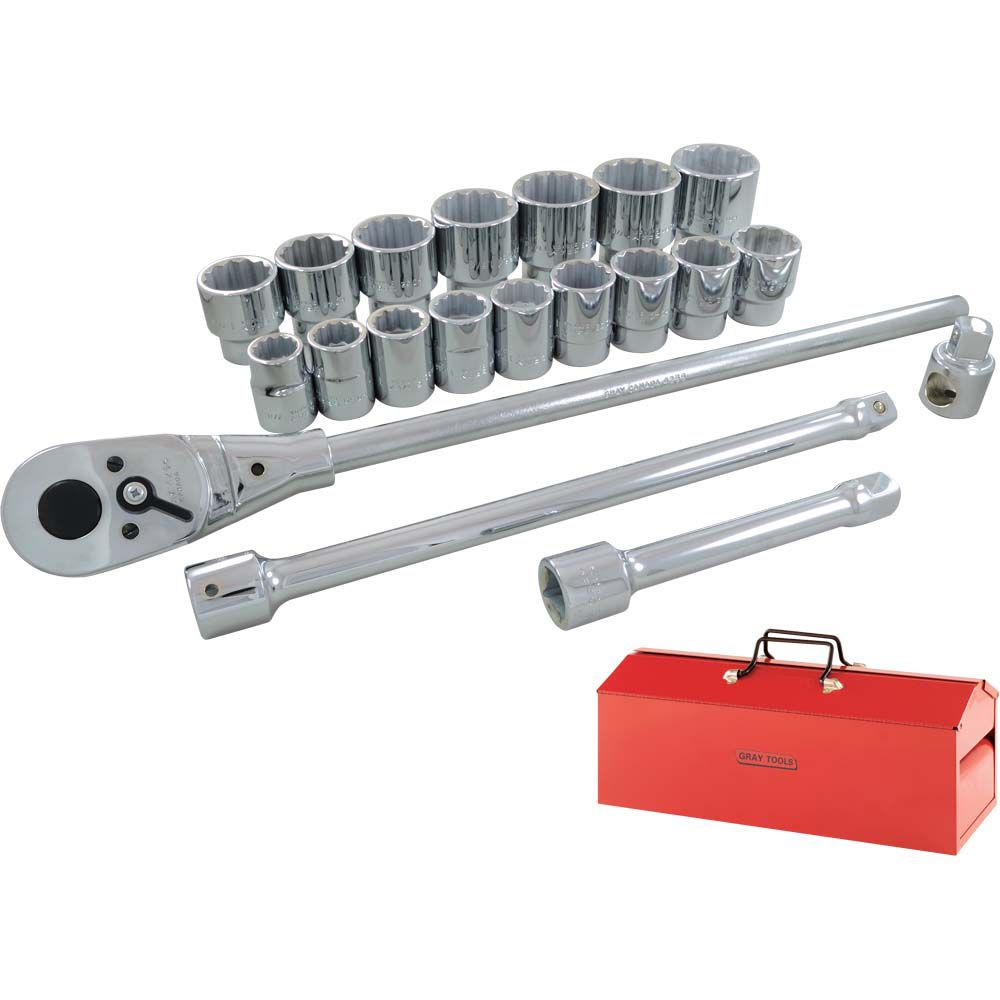 GRAY TOOLS Socket & Attachments Set 22 Pieces 3/4 Inch Drive 12 Point Standard Sae
