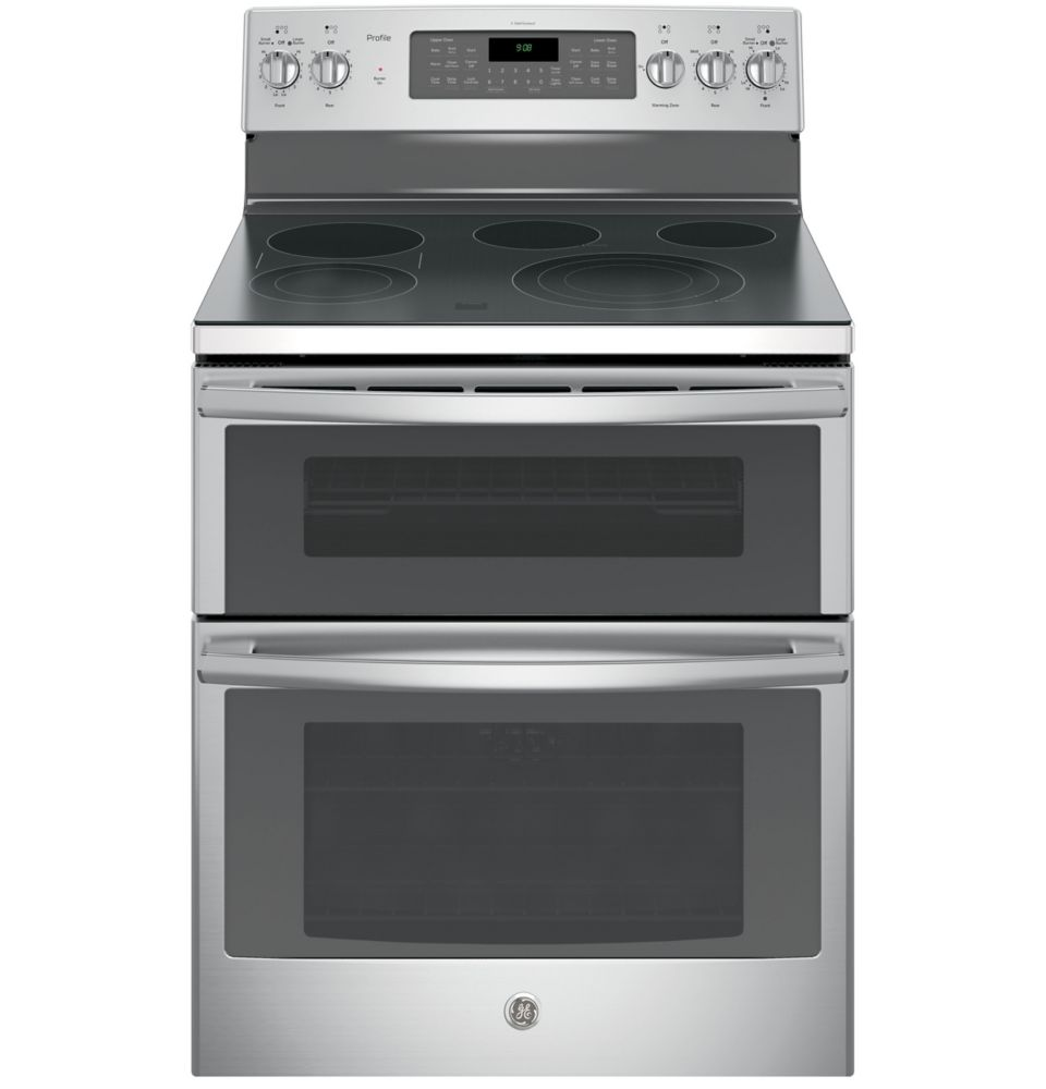 GE 6.6 cu. ft. Free-Standing Double Oven Convection Electric Range in Stainless Steel