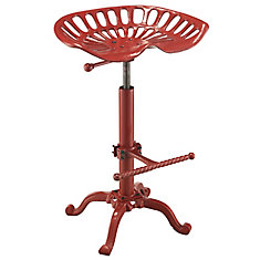 Adjustable Tractor Seat Stool in Red