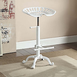 Carolina Forge Adjustable Tractor Seat Stool in White