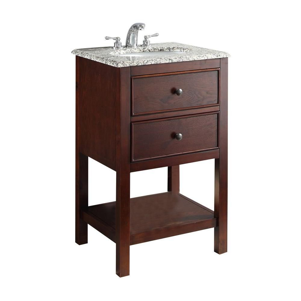 Burnaby 20-inch W Vanity in Walnut Brown with Granite Top in Dappled Grey