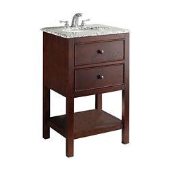 Simpli Home Burnaby 21-inch W 1-Drawer Freestanding Vanity in Brown With Granite Top in Grey