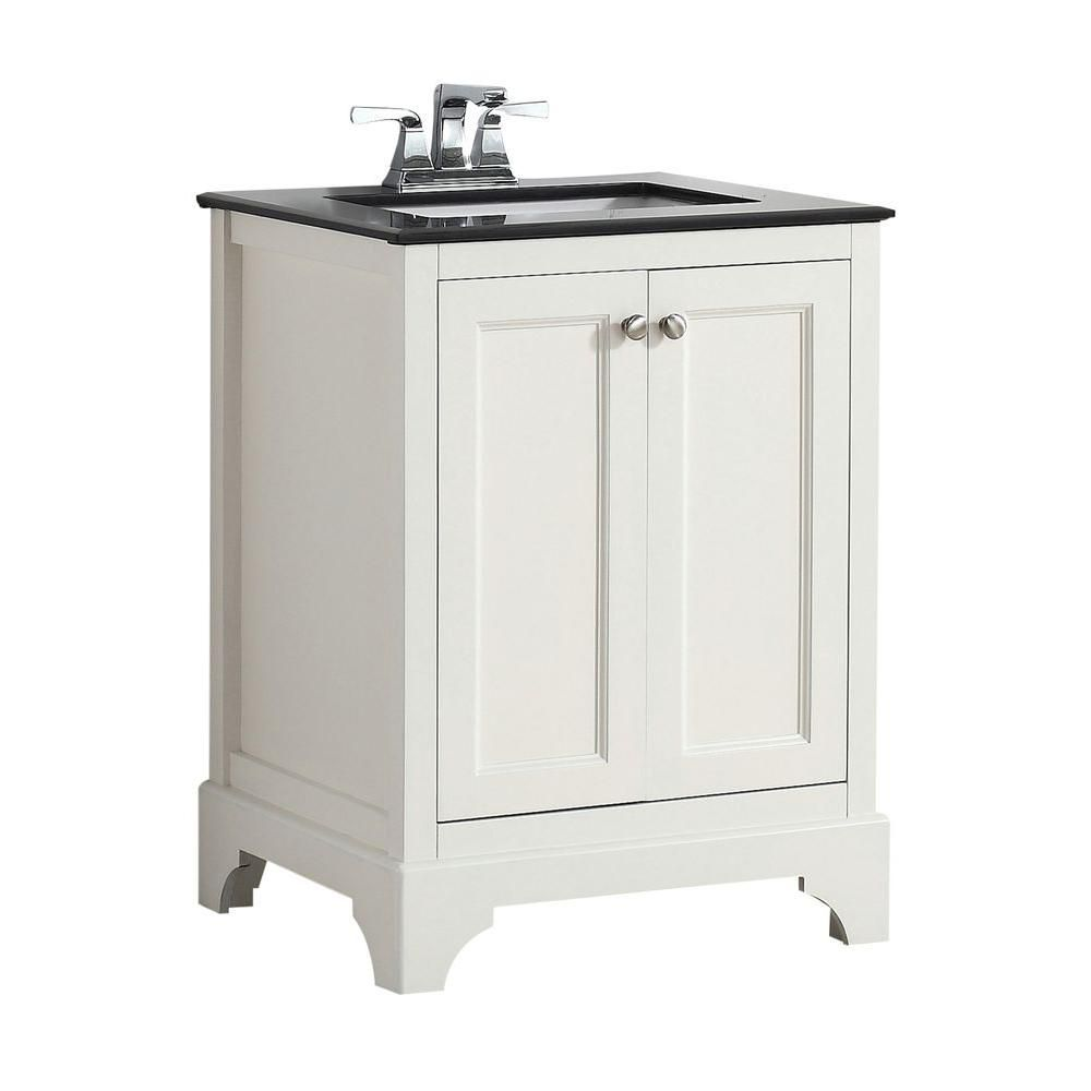Cambridge 24-inch W Vanity in Soft White with Granite Top in Black