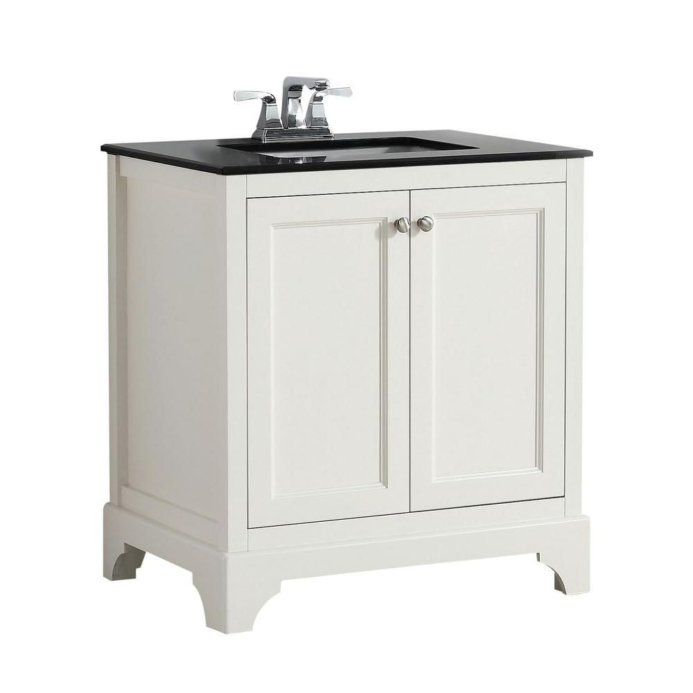 Cambridge 30-inch W Vanity in Soft White with Granite Top in Black