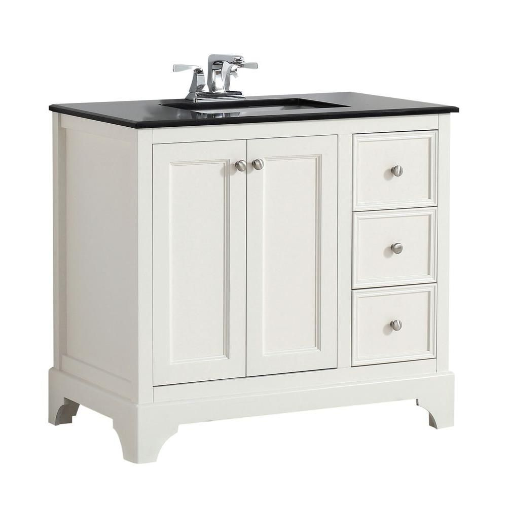 Cambridge 36-inch W Vanity in Soft White Finish with Granite Top in Black