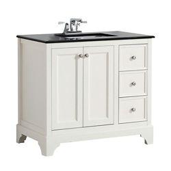 Simpli Home Cambridge 37-inch W 3-Drawer 2-Door Freestanding Vanity in White With Granite Top in Black