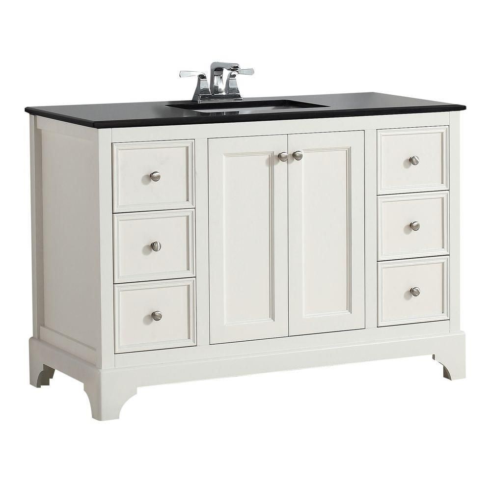 Cambridge 48-inch W Vanity in Soft White with Granite Top in Black
