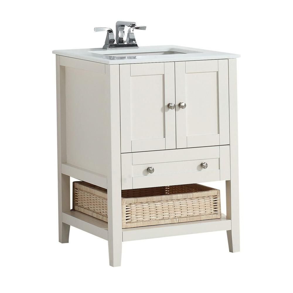 Simpli Home Cape Cod 25-inch W 1-Drawer 2-Door Freestanding Vanity in White With Quartz Top in White