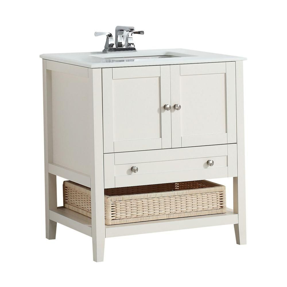 Cape Cod 30-inch W Vanity in Soft White Finish with Quartz Marble Top in White