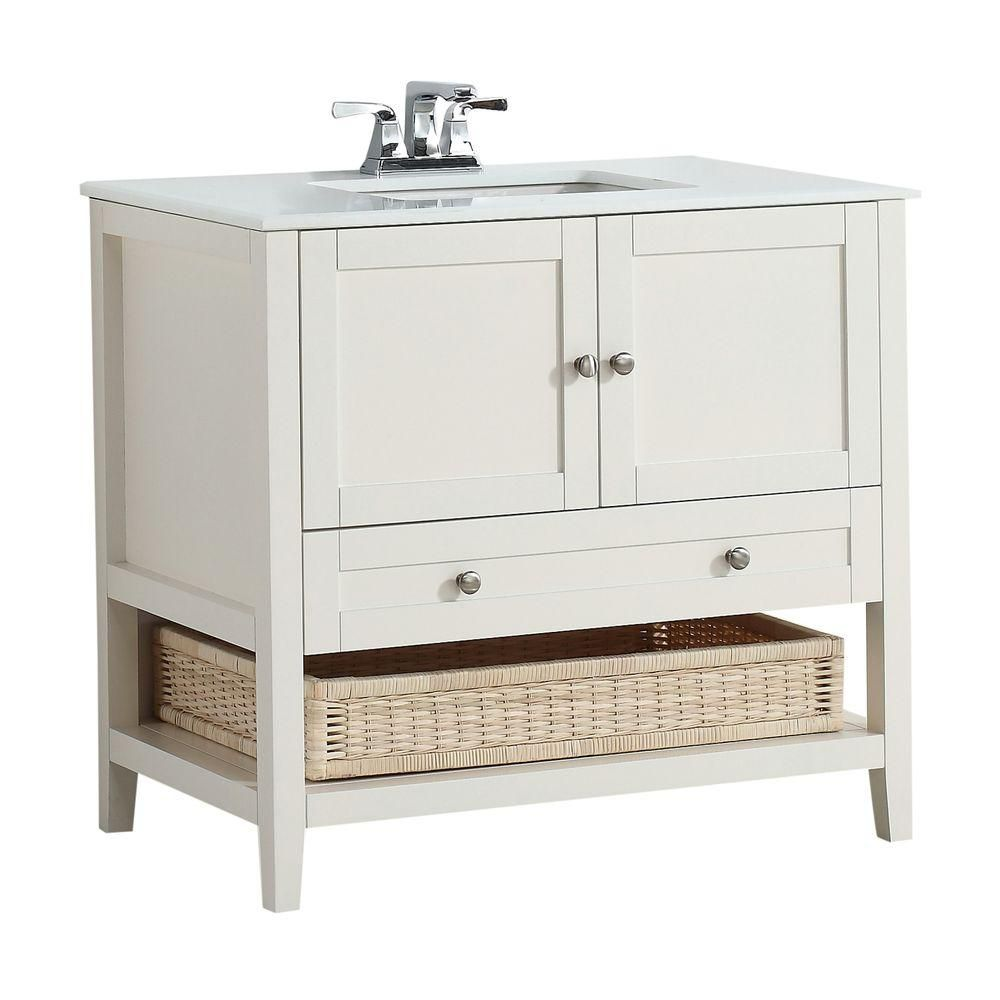 Cape Cod 36-inch W Vanity in Soft White with Quartz Marble Top in White