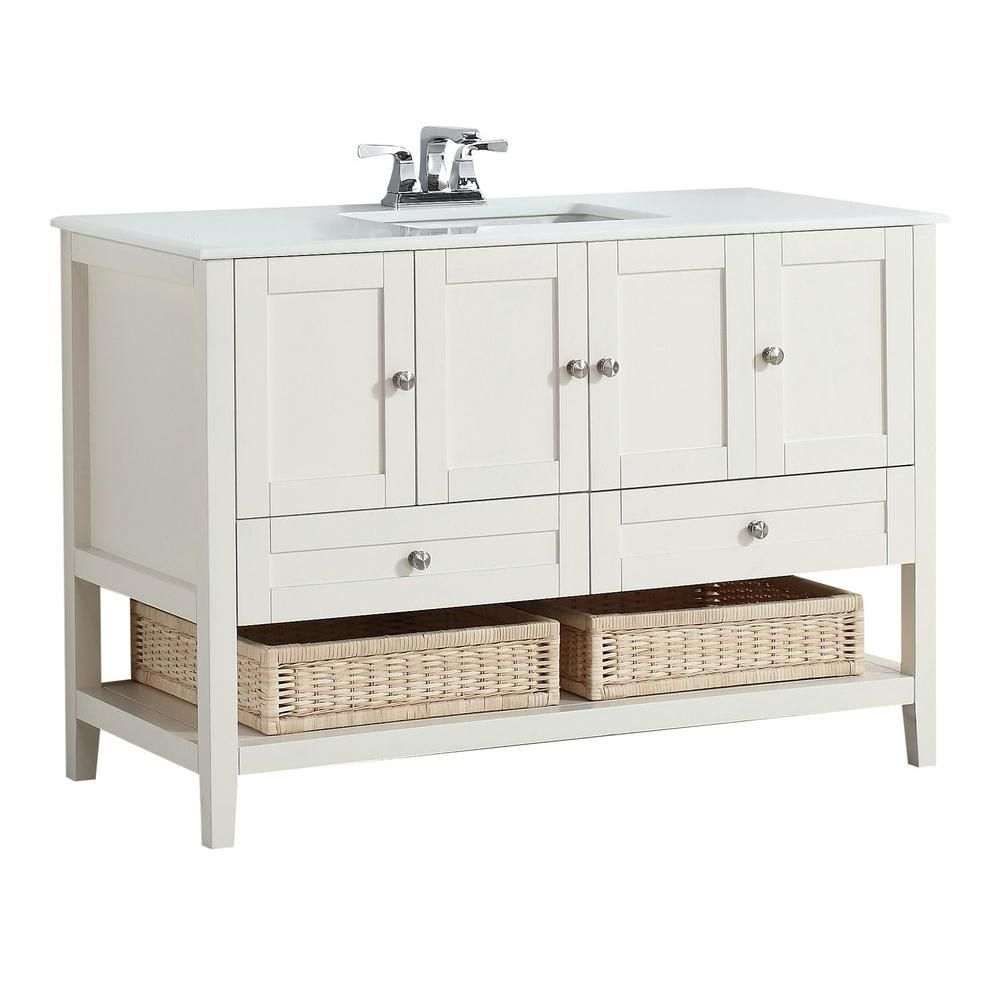 Cape Cod 48-inch W Vanity in Soft White with Quartz Marble Top in White