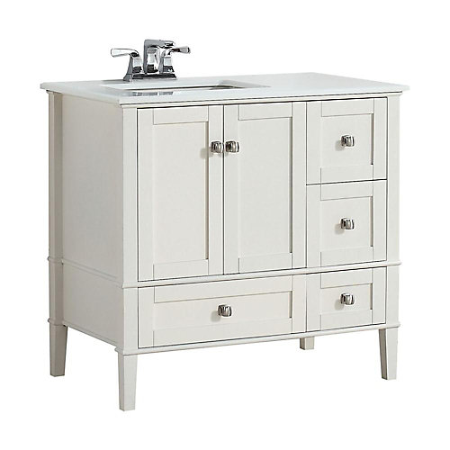 Chelsea 36-inch W Vanity in Soft White with Quartz Marble Vanity Top in White and Left Off Set Sink