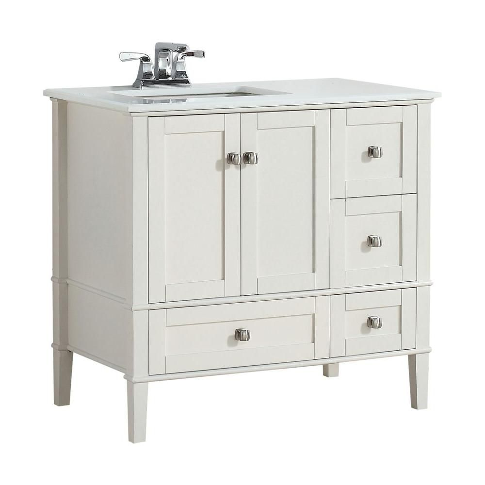 Cape Cod 36-inch W Left Offset Vanity in Soft White Finish with Quartz Marble Top