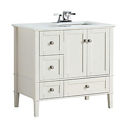Chelsea 36-inch Vanity in Soft White with Quartz Marble Vanity Top in White and Right Off Set Sink